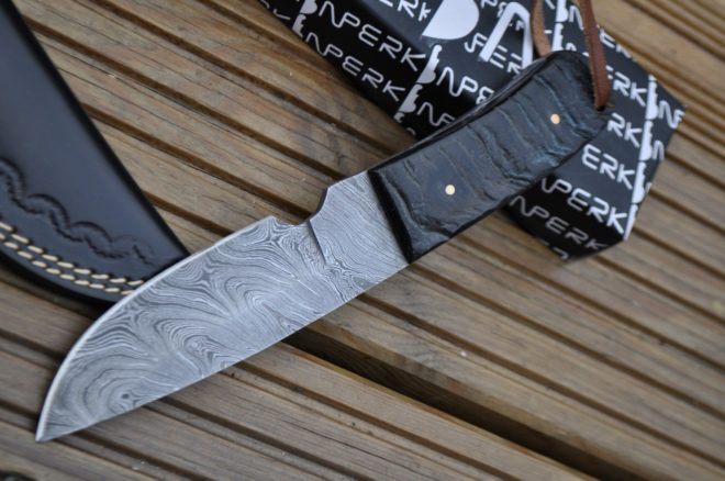 Handmade Damascus Bushcraft Knife with Ram's Horn Handle