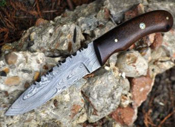 HANDMADE DAMASCUS HUNTING BUSHCRAFT KNIFE BURL WALNUT WOOD