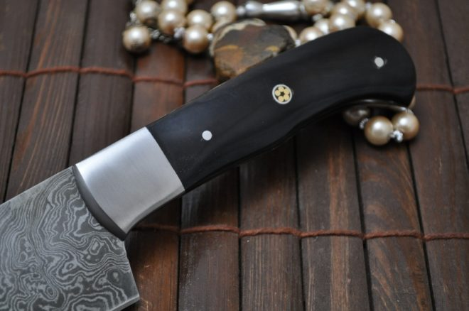 Handmade Damascus Chopper Knife with Buffalo Horn Handle