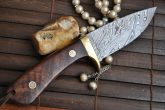 HANDMADE DAMASCUS HUNTING KNIFE FULL TANG - BEAUTIFUL CAMPING KNIFE - HT1600