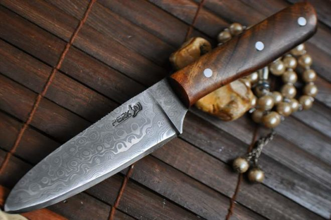 Handmade Hunting Knife Damascus Steel & burl Wood