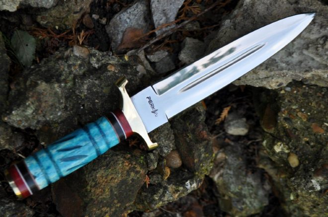 Double Edge Handmade Hunting Knife with 440C Blade & Natural Bone Handle