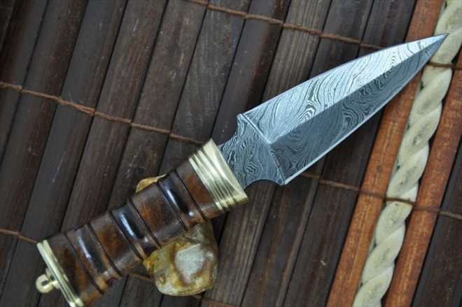 Handmade Damascus Hunting Knife With Double Edge