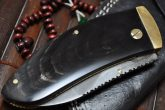 CUSTOM DAMASCUS HANDMADE FOLDING KNIFE BUFFALO HORN HANDLE WITH LEATHER POUCH