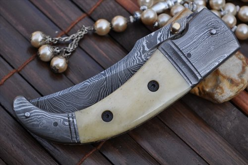 Damascus Folding Knife with Camel Bone & Damascus Handle