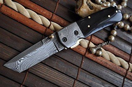 Custom Made Damascus Folding Knife with Tanto Blade & Buffalo Horn Handle