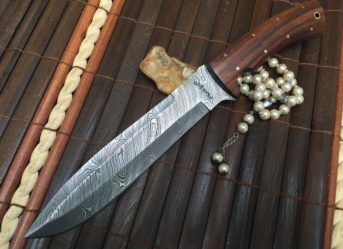 Custom Handmade Damascus Hunting Knife - Beautiful Bowie Knife
