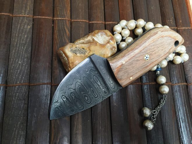 Damascus Steel Handcrafted Small Hunting Knife - Neck Knife