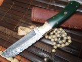 Custom Handmade Damascus Hunting Knife - Full Tang