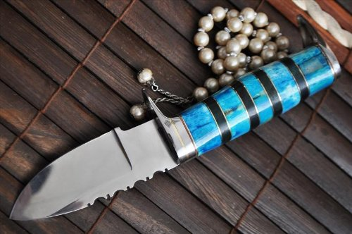 Genuine O1 Tool Steel Hunting Knife with Handmade Leather Sheath