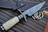 Bowie Knife with Sheath - Damascus Steel Blade & Bone Handle