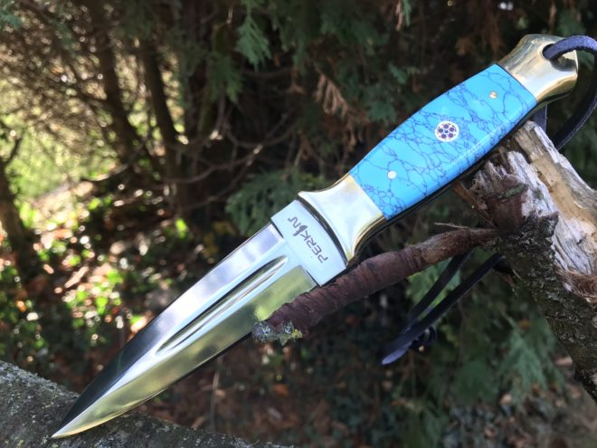 Hunting knife fixed blade with leather sheath handmade