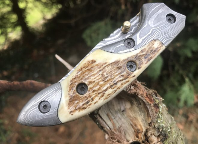 Handmade damascus steel pocket knife stag antler handle