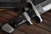 Fixed blade hunting bowie knife with sheath damascus steel