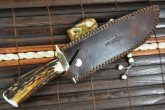 Handmade Damascus Hunting Bowie Knife With Sheath