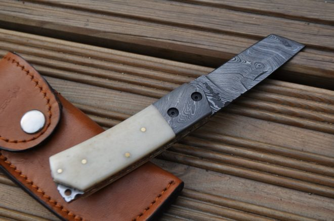 Damascus Steel Folding Knife - Pocket knife-Tanto blade