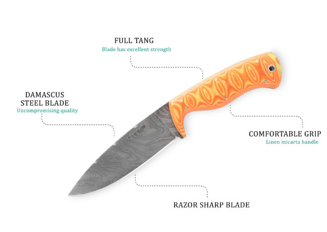 9.5 Inches Full Tang Fixed Blade Hunting Knife