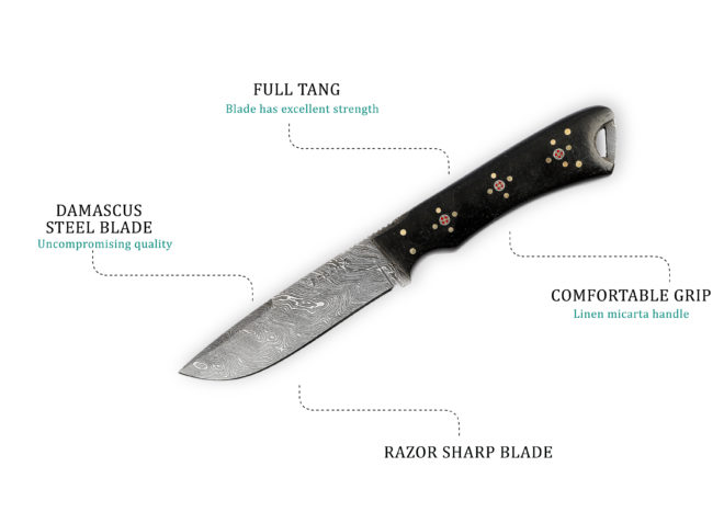 Razor Sharp Steel Blade Hunting Knife - 9.5 inches
