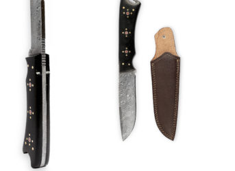 Perkin - H507 | Damascus Steel Knife | 9.5 inches Hunting Knife with Leather Sheath
