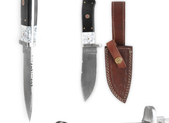 Perkin - 1970 | Damascus Steel Knife | 9 inches Hunting Knife with Leather Sheath