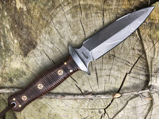 Fixed Blade Double Edge Hunting Knife with Leather Sheath