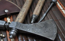 Custom Damascus Hunting Knife with Burl wood & Mammoth Bone Handle