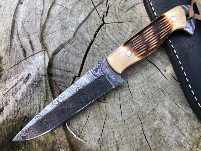 Perkin 8 Inches Damascus Steel Hunting Knife with Sheath SK100