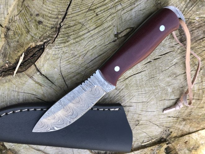 Perkin Damascus Steel Hunting Knife with Sheath Skinning & Bushcraft Knife - SK400