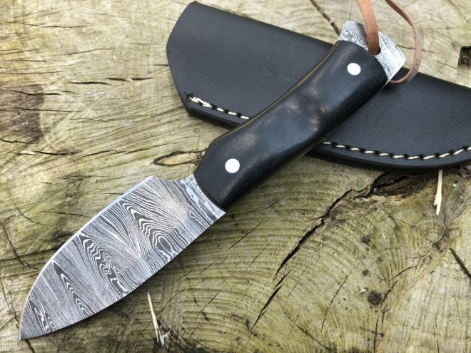 Perkin Damascus Steel Knife Hunting Knife with Sheath Bushcraft Knife - SK800