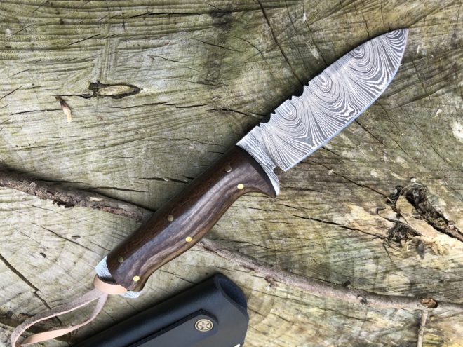 Perkin Damascus Steel Knife Hunting Knife with Sheath Skinner Knife - SK1300