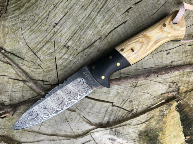 Perkin Damascus Steel Knife Hunting Knife with Sheath Bushcraft Knife - SK1200
