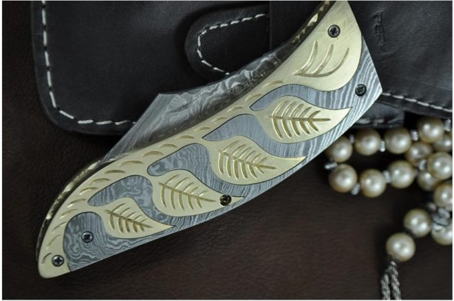 Damascus Steel Pocket Knife Beautiful Damascus Knife