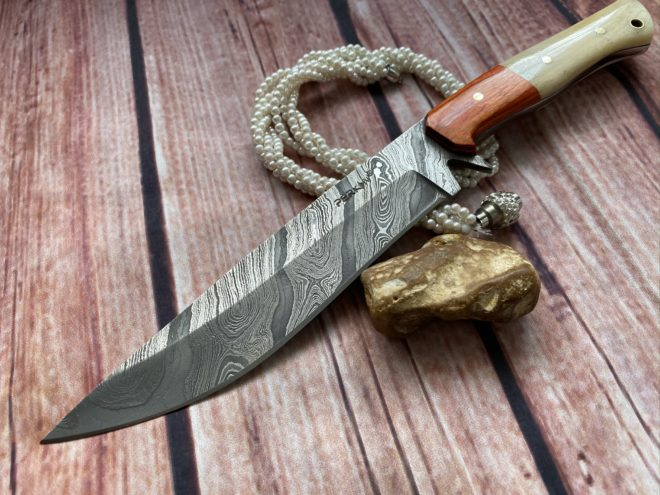 Perkin Hunting Knives 12 Inches Damascus Steel Knife Full Tang Fixed Blade Knife FBE111