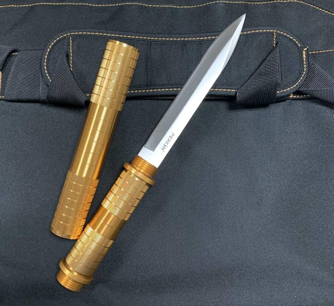 Perkin Fixed Blade Knives Fighting Knife Hunting Knives Survival Knife SHK (Golden)