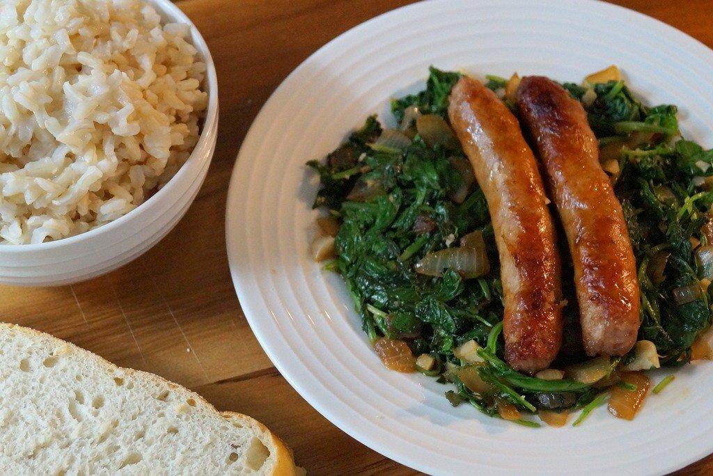 sausage and mesclun