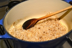 Cooking the rice with the garam masala infused butter