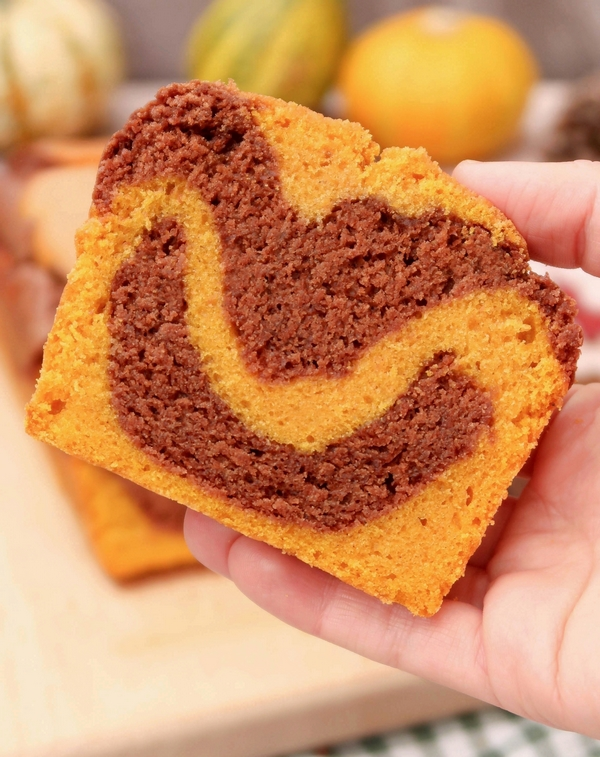 Cake marbré potiron chocolat {vegan}