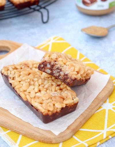 Barres croustillantes au chocolat et riz soufflé