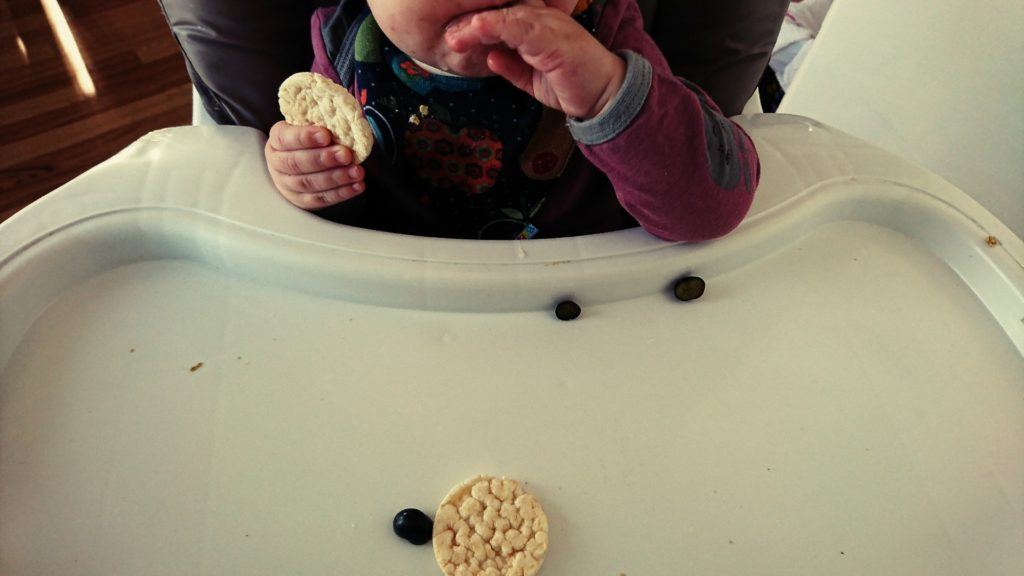 Perlenmama Baby Led Weaning Reiswaffeln Miniperle Blaubeeren