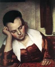 Johannes_Vermeer - Femme endormie à table (détail)