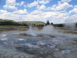 Gejzer obok strumienia, Yellowstone