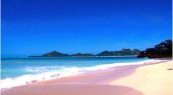 Rajska plaża i kojące fale na  karaibskiej  wyspie