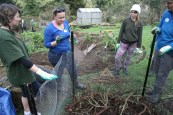 Learning how to create compost with layers of carbon and nitrogen.