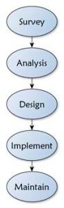 Survey (Indagine), Analisi, Design e Implementazione Manutenzione, Evaluation (Valutazione), e Tweaking (piccoli aggiustamenti)