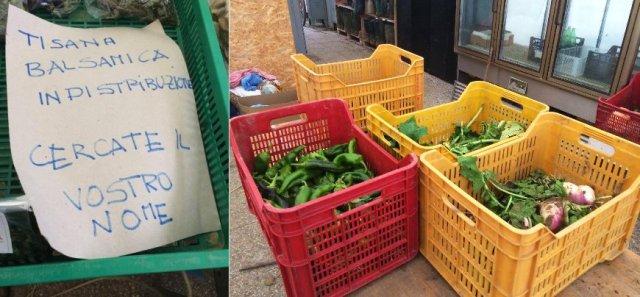 Autogestione delle consegne: la cassetta delle tisane e le cassette di verdure già pulite pronte per la divisione in quote