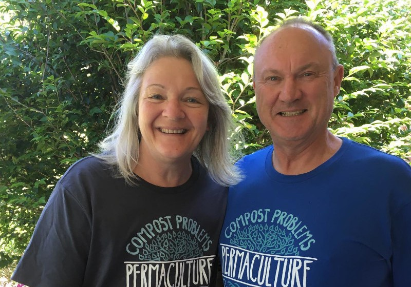 Meg and Graham wearing permaculture t-shirts
