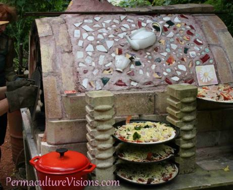 reject furnace bricks hold pizza trays ready for pizza oven Permaculture Visions
