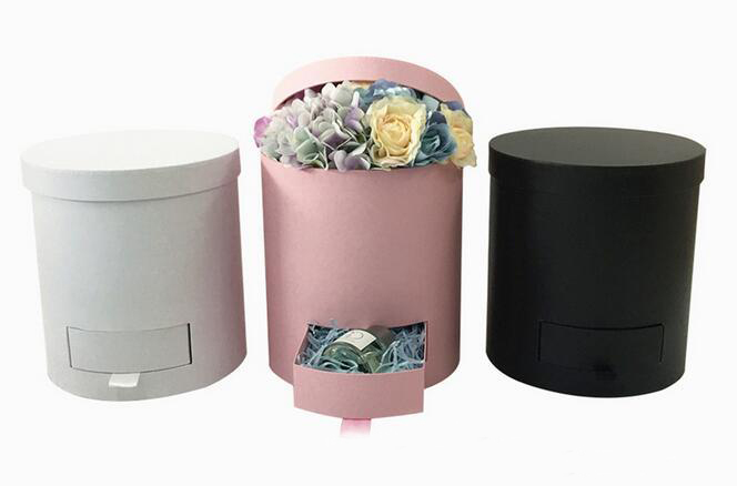 Round Cylinder Flower Hat Box With Lid Permanent Flower