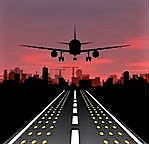 stock-vector-the-plane-is-taking-off-at-sunset-and-night-city-vector-illustration-219509905