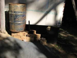 Rocket stove heater, to be cobbed in the near future